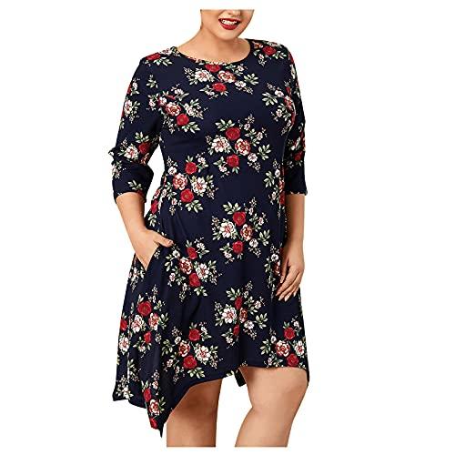 AMhomely Vestido de verano para mujer, elegante, talla grande, estampado de flores, talla grande, vestido de manga tres cuartos, vestido chic vintage étnico, vestido suelto, talla Reino Unido