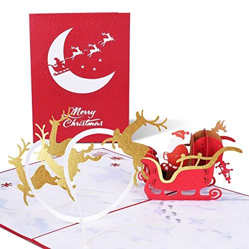 PaperKiddo 3D Pop Up Karten Weihnachten im Galopp Rentier Schlitten Weihnachten Deer Dankeschön Grußkarten für die Familie Unique Xmas New Year Gifts 20x15x0.3cm / 7.9x5.9x0.1