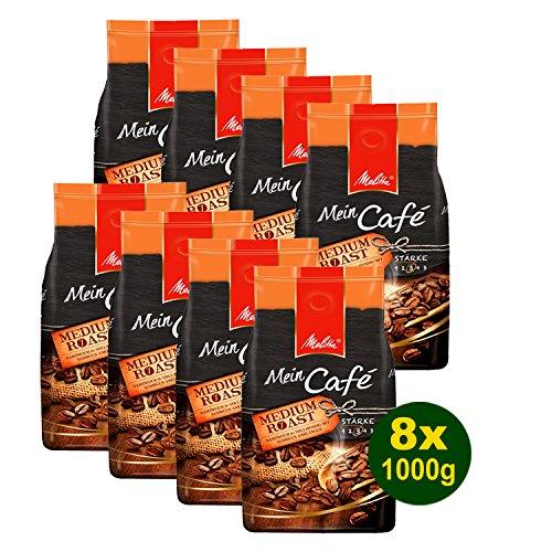 Melitta Mein Café Medium Roast, Kaffeebohnen, 8x 1000g (8000g) - Kaffee mit leicht nussiger Note!