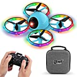 Dwi Dowellin 10 Minutes Long Flight Time Mini Drone for Kids with Blinking Light One Key Take Off Spin Crash Proof RC Nano Quadcopter Toys Drones for Beginners Boys and Girls with Carrying Case, Blue