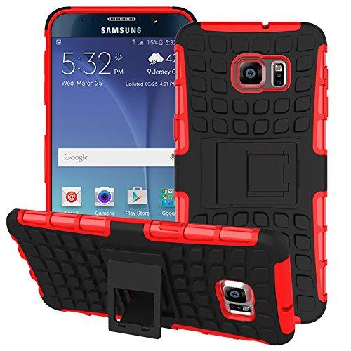 Voguecase Per Samsung Galaxy S6 Edge plus/Edge+ , Funda Duro Cover Case con supporto (rosso) Con free Stilo Penna