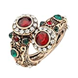 Boho Style Vintage Red Ring Antique Gold Color Double Head Red Gem Stone Finger Ring for Women Indian Jewelry