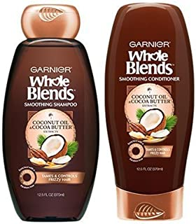 Garnier Whole Blends Coconut Oil & Cocoa Butter Smoothing Shampoo & Conditioner Set, 12.5 Fl. Oz. Each