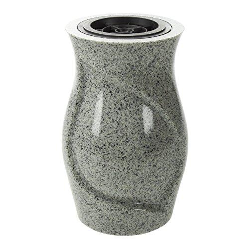 Vaso da cimitero Carlina plastica resina replica in granito China Grey 17x 27cm