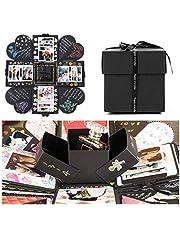 EKKONG Explosionsbox gör-det-själv handgjord fotoalbum scrapbooking presentask för alla hjärtans dag bröllopslåda födelsedagsfest överraskning festival gåva (svart)