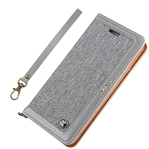 Aroko iPhone 8 Case iPhone 7 Leather Case Canvas Wallet Slim Fit Folio Book Cover Flip Wallet Case with [Business Card Holder] for iPhone 8/7(i8/ i7 4.7inch, Grey1)