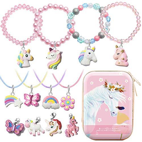 MJARTORIA Regalo para cumpleaos infantiles, collar de perlas de unicornio, pulsera con 12 colgantes intercambiables, pulsera de la amistad, cadena de la amistad, con caja de almacenamiento