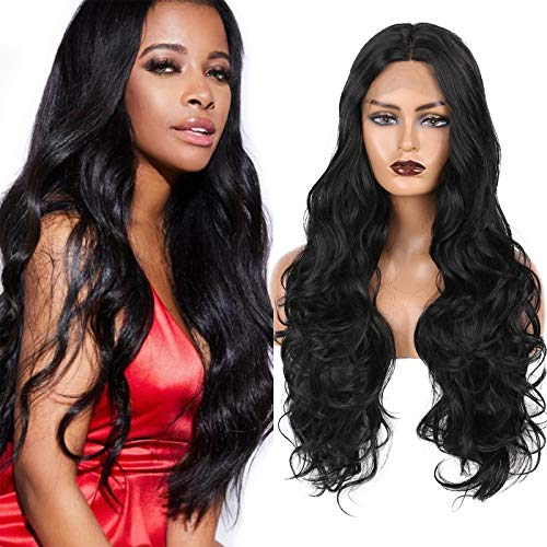 DaiMer T part Synthetic Lace Front Wigs Black Color Long Body Wave Curly Wig With Natural Hairline Deep Middle Part Deep Lace Hair Wigs for Women Daily Party Wigs 26inch(#1B)
