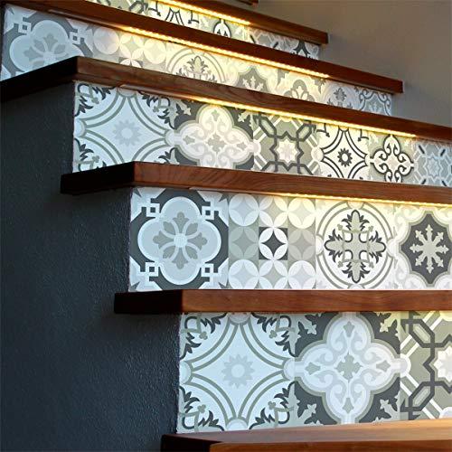 Selbstklebende Treppe Fliesen | Selbstklebender Aufkleber Zementfliesen | Sticker Gegenzeichen Fliesen | Treppe Zementfliesen selbstklebend – Azulejos – 15 x 105 cm – 6 Streifen