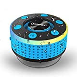 Donerton Bluetooth Shower Speaker, IPX7 Waterproof Wireless Speakers with HD Sound Stereo, Portable Speaker, LED Light Mini Speakers with Suction Cup, Radio, TWS Mode, Built-in Mic, Handsfree(Blue)