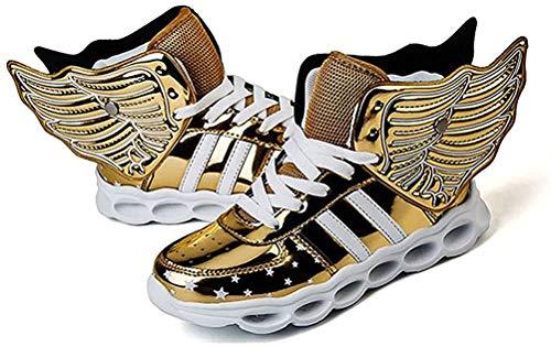 ONEKE LED Leuchten Schuhe Turnschuhe Laufschuhe für Kinder Jungen Mädchen 4 Farben Blinkende Flügel Sportschuhe (EU 32, Golden)