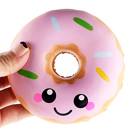 Bokeley Happy Easter Slow Rising Toy, Jumbo Donut Bread Squishy Cream Scented Simulation Cute Cake Squeeze Toys for Collection Gift Stress Relief (Pink)