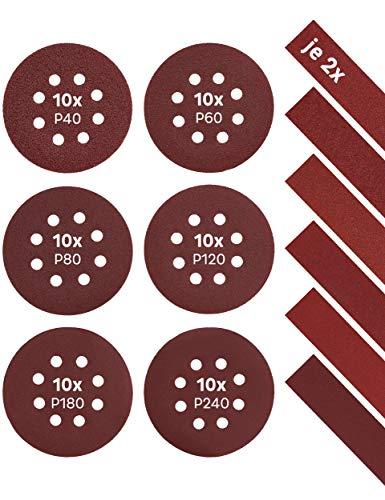 KSP-Tec – Schleifpapier 125 mm Klett - 60 St. P40 - P240 für Exzenterschleifer – Schleifscheiben Holz- Schleifteller 125 Klett – Exenterschleifer