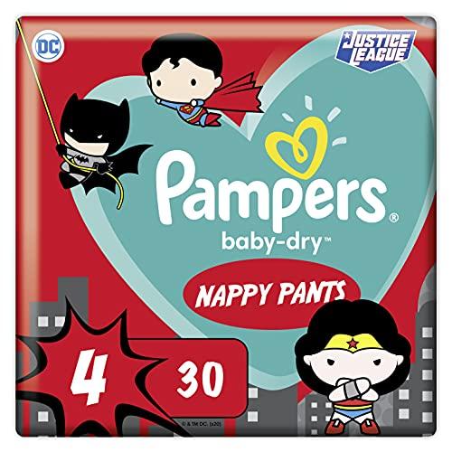 Pampers Baby-Dry Pants 4, 30 Höschenwindeln, Einfaches An- und Ausziehen, Zuverlässige Pampers Trockenheit, 9kg-15kg
