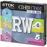 TDK CD-RWデータ用700MB 4倍速カラーミックス5mm厚ケース入り5枚パック [CD-RW80X5CCS]