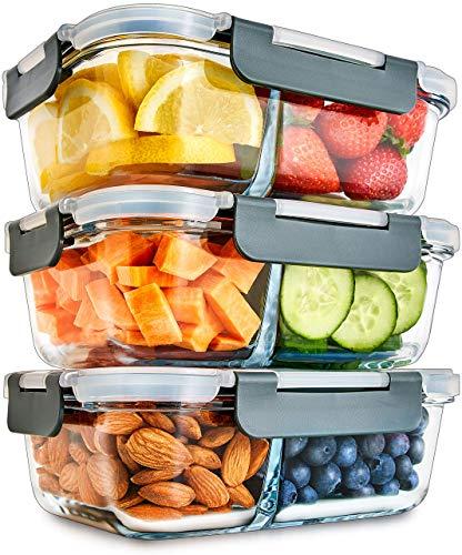 2-Fach Meal Prep Container aus Glas mit Transparentem deckel – Luftdicht Verschließbare Frischhaltedosen, BPA-Frei, Geeignet für Mikrowelle, Gefrierfach, Spülmaschine, Ofen – [3er Pack]