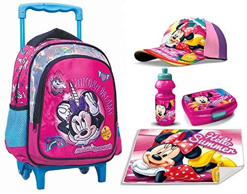 Minnie Mouse Topolina Set Zainetto Zaino Trolley, Cappello,Box Merrenda, Borraccia ,Tovaglia Stofa,Scuola