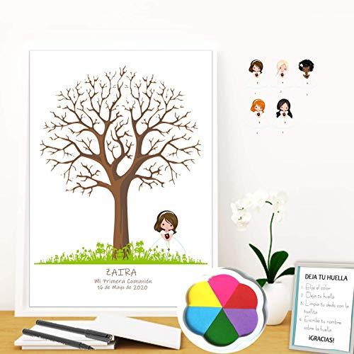 Cuadro de árbol de huellas con niña de comunión. Varios tamaños y colores de marco.Tintas e instrucciones incluidas.Invitaciones y banner a juego.
