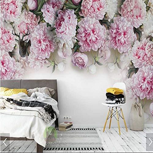 Murale Papier Peint De Fleurs De Pivoine 3D Murale Pour Enfants Chambre Tv Fond Décoration Taille Personnalisée Imprimé Photo Mur De Papier Peint Murales Florales, 308X220Cm