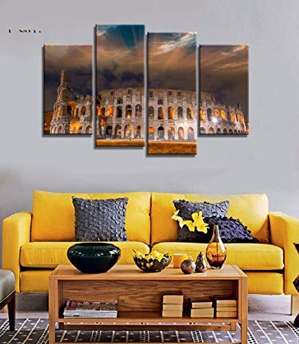 ANTAIBM® 4 Wandkunst-Malplakat Holzrahmen - verschiedene Größen - verschiedene StileNachtlicht in Italien Leinwand Malerei Wandkunst Landschaft 4 Stück druckt Home Decor Picture Panels Poster für Linv