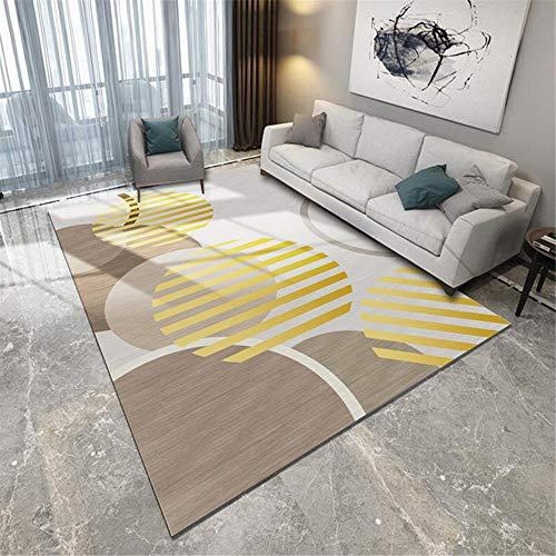 Kunsen Tappetto Interno Tappetti Motivo Geometrico Graffiti Marrone Giallo Grigio con Decorazione a Linee Morbido Igroscopico Pavimento tappeti 120 * 200cm