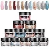 Modelones Acrylic Powder 12 Color Nude Gray Color Acrylic Nail Powder Set Professional Polymer Colorful Set Acrylic nails