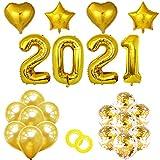 Globos grandes 2021 de oro y confeti Globos Set de globos de oro y confeti, suministros para fiestas de fin de año 2021, decoraciones de NYE 2021 Globos de graduación - Oro