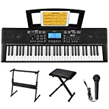 Donner DEK-610 61 Key Piano Keyboard Electronic keyboard piano beginners with Full-Size Keys, Include a Music Stand, Keyboard Stand, Stool, Microphone