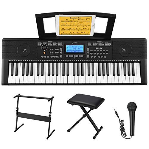 Donner DKE-610 61 Keys Electronic Keyboard Portable Electric Music Piano with Full-Size Keys for Beginners, Include a Music Stand, Keyboard Stand, Stool, Microphone