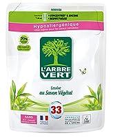 SAVON VÉGÉTAL: la lessive l'Arbre Vert au SAVON VÉGÉTAL est idéale pour lestextiles blancs et couleurs. Grâce à sa formule douce pour la peau et pour l'environnement, votre linge sera impeccable et délicatement parfumé. LESSIVE CERTIFIÉE ÉCOLABEL EU...