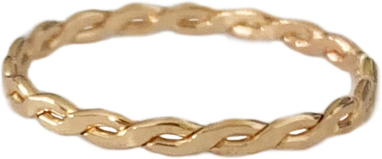 Toe Ring | 14K Gold Fill Twisted Braid | Fitted Ring for Foot Or Knuckle Midi for Women, Girls, Or Men