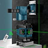 Nivel Láser Autonivelante Verde con Trípode, 360 Grados 12 Líneas, Nivel Láser Giratorio 3D Autonivelación de Línea Horizontal Conmutable, Distancia de Trabajo 30 m Blau