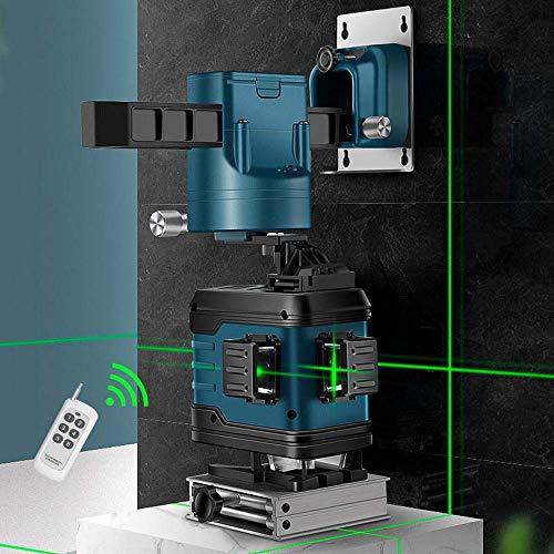 Kruislijnlaser zelfnivellerend 360 groene laserniveau zelfregulerende, groene straal 3D 12 lijnen, IP 54 zelfnivellerende verticale supersterke groene laserstraallijn blauw