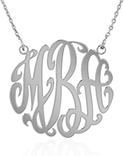 Joelle Monogram Necklace Sterling Silver Custom Any Initial Name Necklace for Women Girls