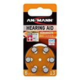 Ansmann Hearing Aid Batteries [Pack of 6] Size 13 Orange Zinc Air Hearing-Aid Suitable for Hearing Aids, Sound...