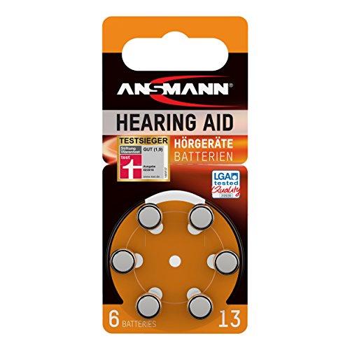 Ansmann 5013243 - Pila para audífono 13 zinc aire, 1,4V PR48 AZA13, 6 unidades, color naranja