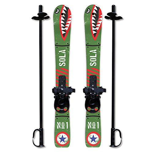 Sola Winnter Sports Kid's Beginner Snow Skis and Poles with Bindings Age 2-4 (Bomber)