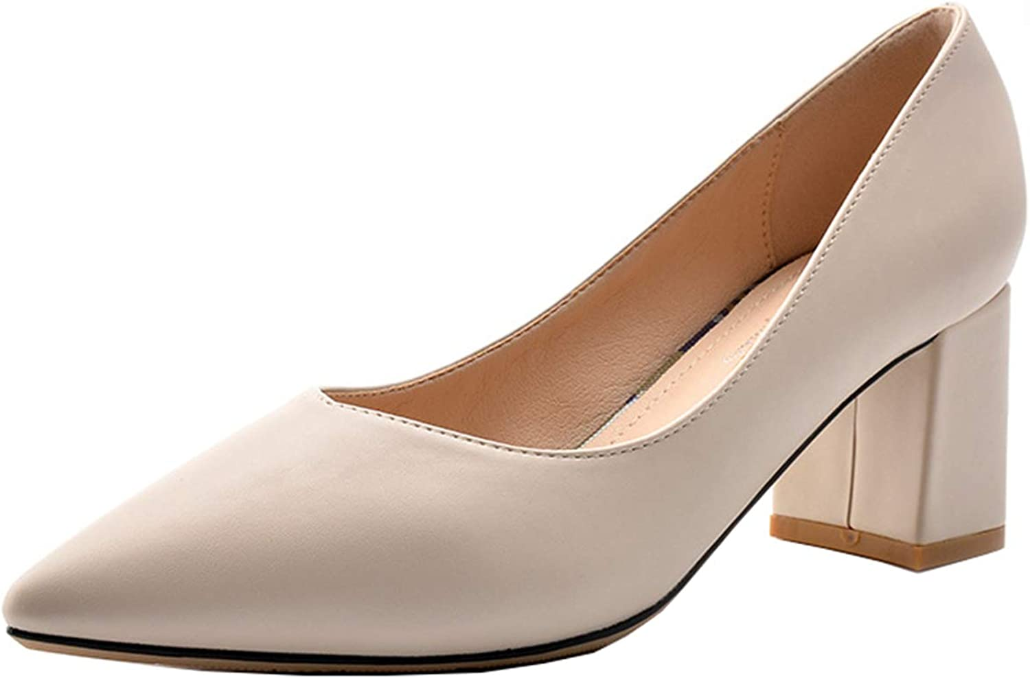 Mashiaoyi Women's Pointed-Toe Block-Heel Pumps