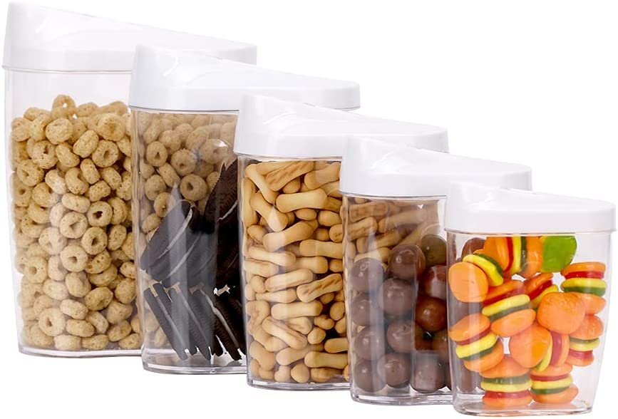BoxedHome Cereal& Dry Food Storage Home&Kitchen BPA-Free Plastic Food Containers Set 5 pcs with Pour Spout