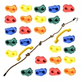 Milliard DIY Rock Climbing Holds Set with 8 Foot Knotted Rope (25 Pc. Kit) Kids Indoor and Outdoor Play Set Use, Includes Mounting Screws, Handles and Hooks.