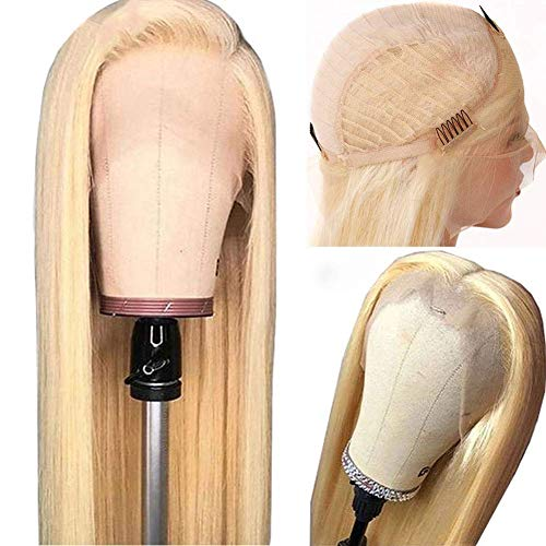 Grace Plus Hair 613 Blonde Straight Human Hair Lace Front Wigs 150% Density 13x4 Brazilian Straight Human Hair Wigs for Women Pre Plucked With Baby Hair (20 inch, 613 Blonde wig)