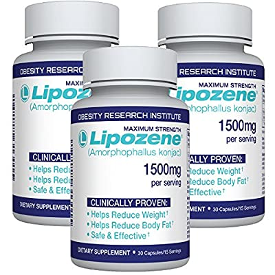 Lipozene Diet Pills - Weight Loss Supplement - Appetite Suppressant and Control - Three Bottles 90 Capsules Total – No Stimulants No Jitters