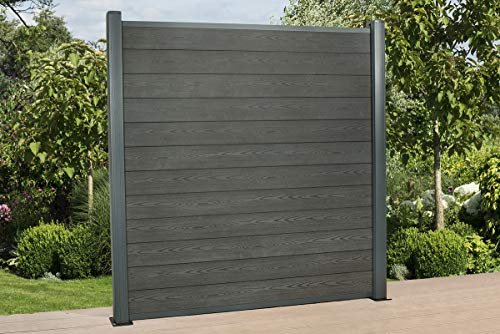DeToWood Hochwertiger WPC Zaun mit Alu- Pfosten (190x9x9 cm zur Bodenmontage) Maße: 1,8 bis 21,6 Lfm, Modell: Premium, Farbe: Granit/Grau (14.4)
