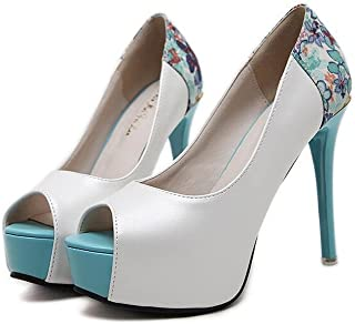 LaBiTi Women's Elegant Round Toe Platform High Chunky Heel Slip On Wedding Pumps Shoes