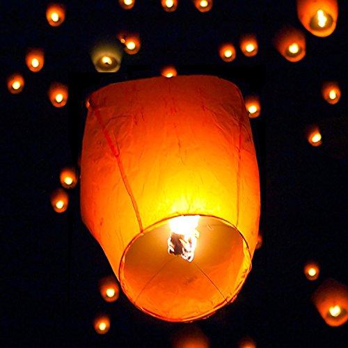 SUPERSHOP (50) Color Blanco Linterna de Papel Chino Cielo Volar Vela lámpara para Wish Fiesta Boda
