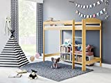Children's Beds Home - Cama Loft - Bobby para niños pequeños - Tamaño 200x90, Color Natural, Colchón 9 cm Espuma Colchón, Altura 180 cm
