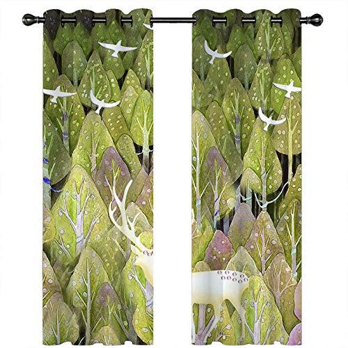 CLYDX Blickdicht Gardinen Waldelch 100% Polyester Verdunkelungsvorhang Lärm Reduzieren Geeignet für Wohnzimmer Schlafzimmer Kinderzimmer 2 * 75 x 166 cm