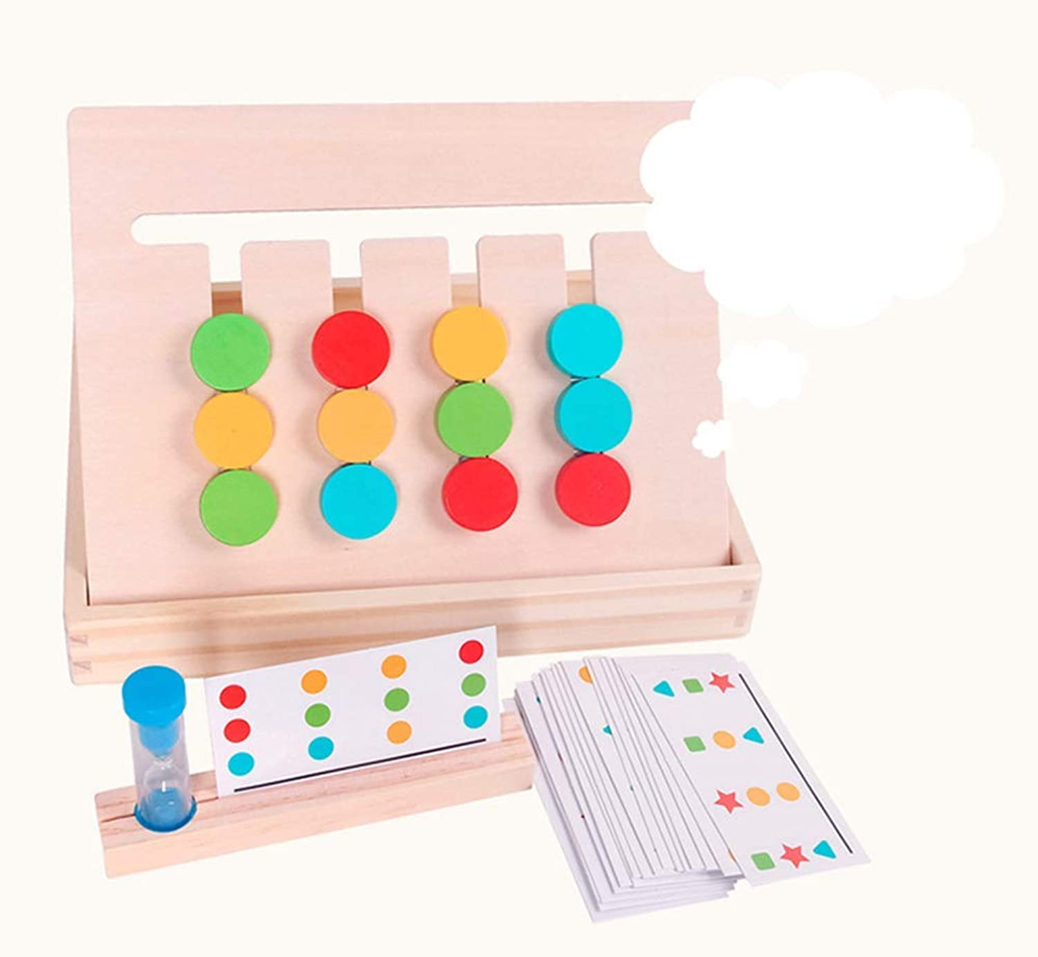 Flyme Wooden Puzzle Game, Enlightenment Puzzle Logic Thinking Training Toy Wood color Sorting Game Wooden Sorting Toy with color Cards for Kids