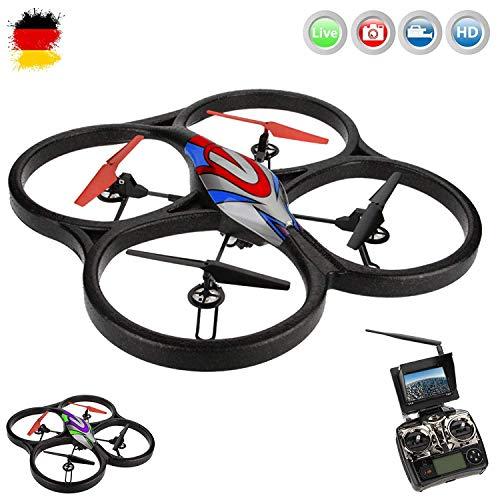XXL 5.8GHz FPV PRO - 4.5 Kanal RC ferngesteuerter Quadcopter 3D Drohne mit Live-Kamera Monitor, Automatische Rückholfunktion, Komplett-Set inkl. HD Kamera-Set, FPV-Monitor, Akku, Ersatzteil-Set, RTF