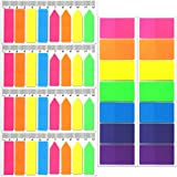 920 Pieces Neon Page Markers, 640 pcs Rectangle and Arrow Sticky Notes Flags + 280 Pcs Large Square Index Tabs, FANDAMEI 6 Set Translucent Page Flags, Fluorescent Colored Sticky Note for Page Maker
